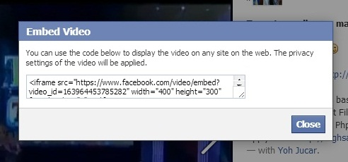 How to embed facebook Video 1
