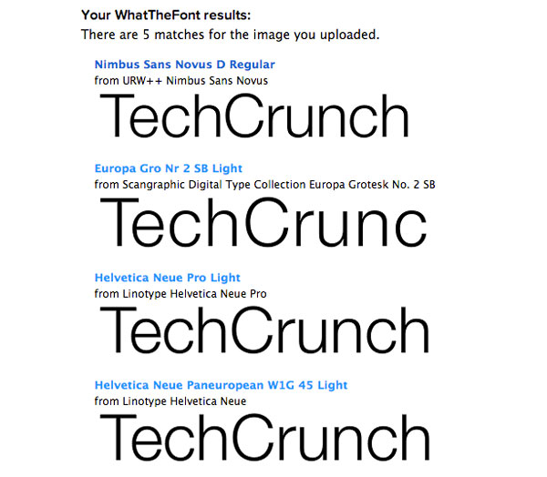 Find font from image - Results