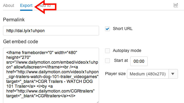 How-to-get-embed-code-in-Dailymotion-Option-2