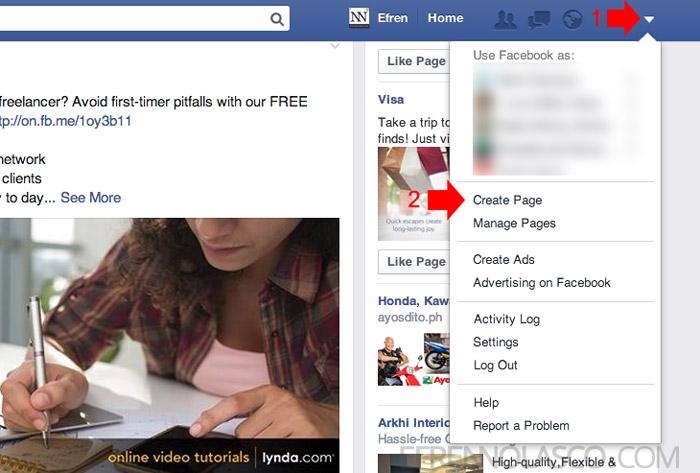 create facebook page step 1