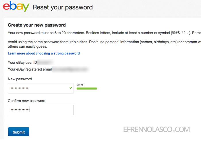 change ebay password step 7