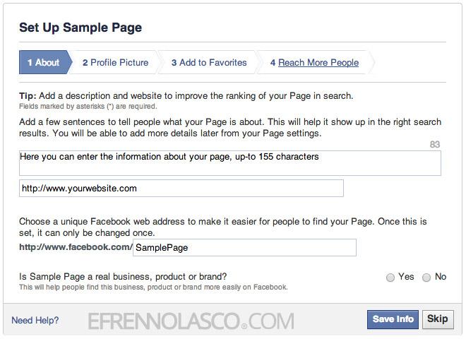 create facebook page step 4