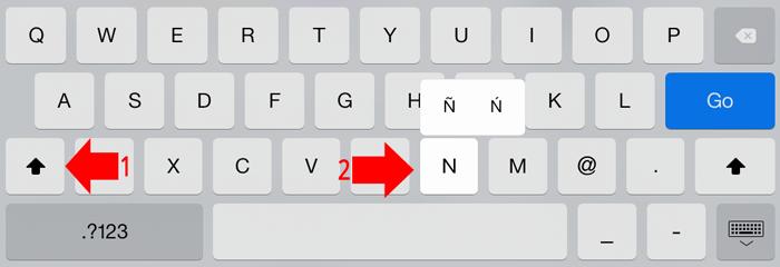 how to type big enye on iOS