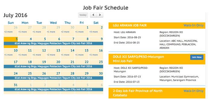 Job fair schedule