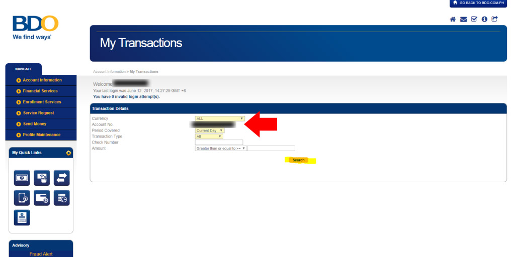 BDO-Transactions-Choose Account Number