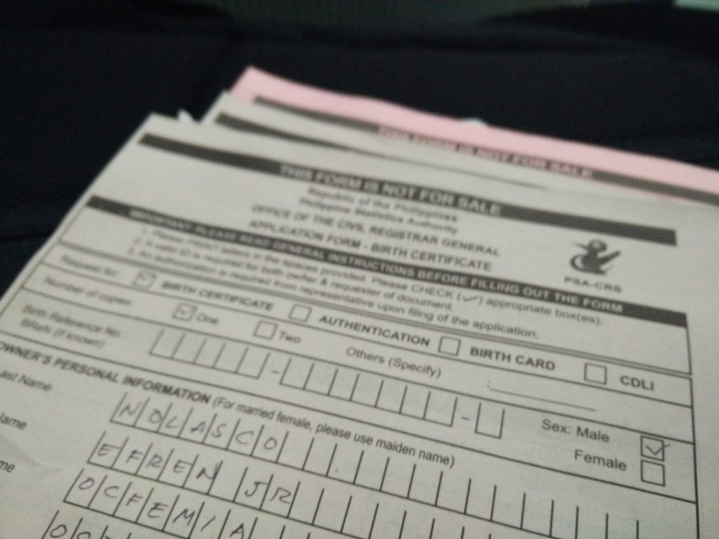 PSA Application form