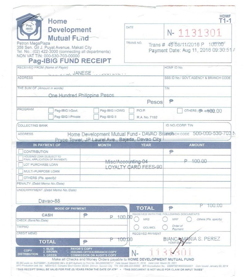 Pag-IBIG Loyalty card-fee
