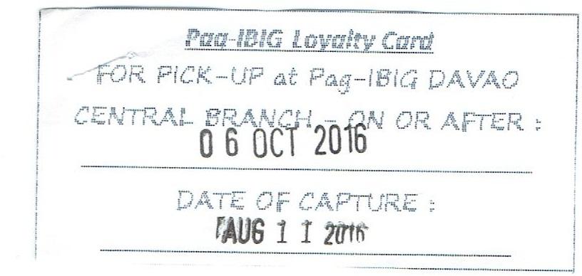 Pag-IBIG Loyaty card claim stub