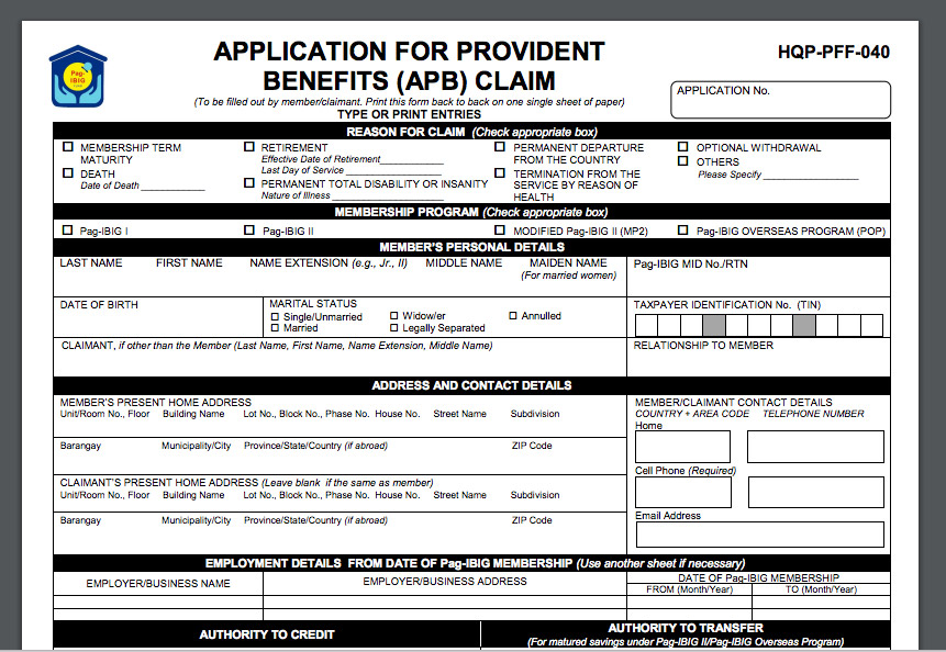 Application-for-Provident-Benefits-Claim