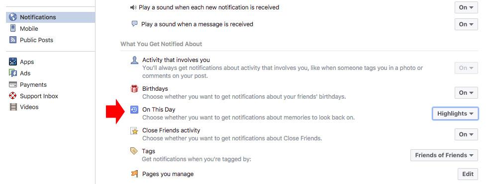 Facebook Memories settings