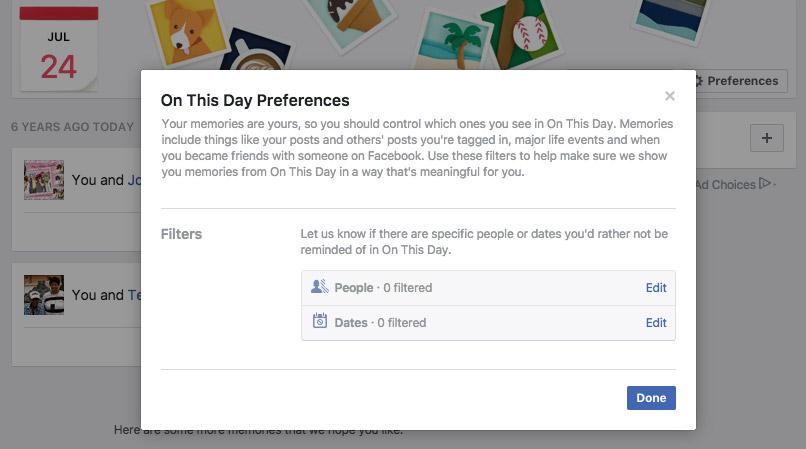 Facebook Memories Preferences