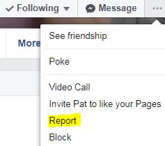 Report FB Friend