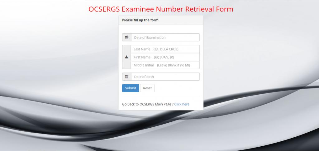OCSERGS Examinee retrieval