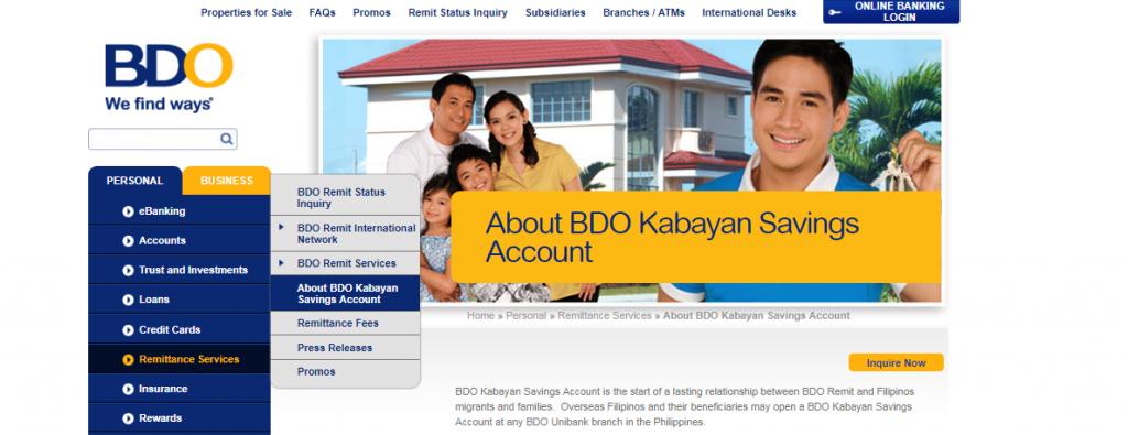 Opening BDO Kabayan Account