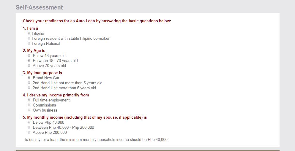 BPI Auto Loan Self Assessment tool