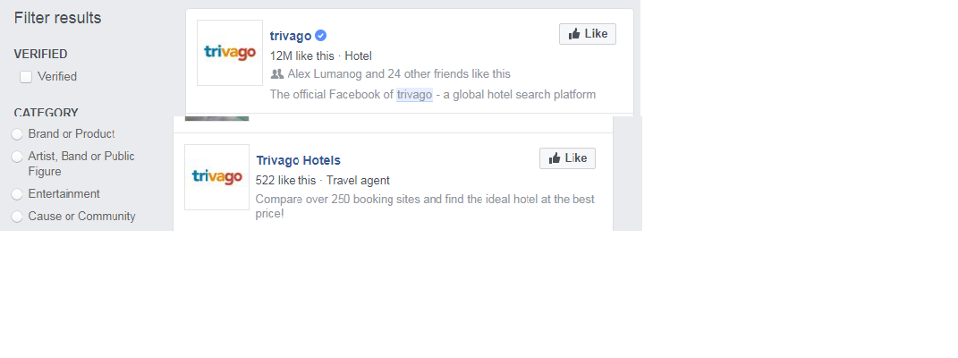Comparison of Legit and Fake Facebook Page