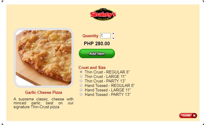 Shakey's menu