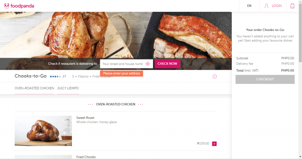 Chooks to go delivery - food panda