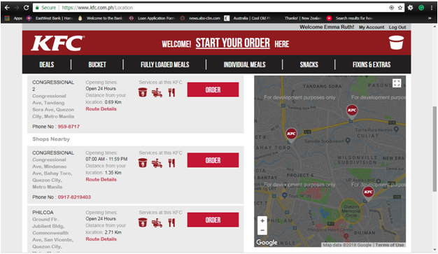 KFC Delivery menu