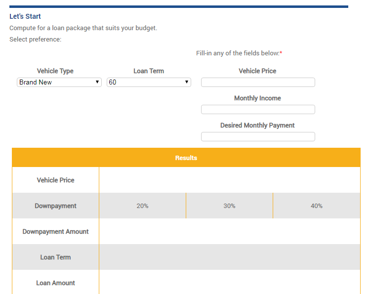 BDO Auto Loan Calculator