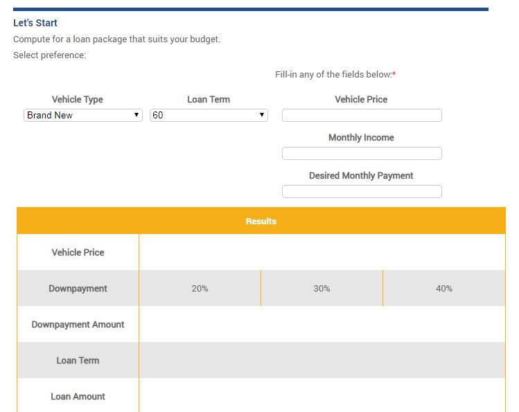 BDO Auto Loan Calculator