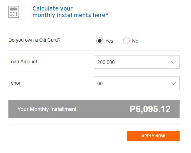 Citibank Loan Calculator