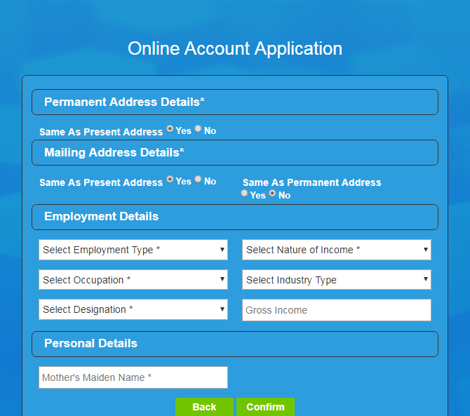 RCBC Telemoney Savings Account Employment Details Page