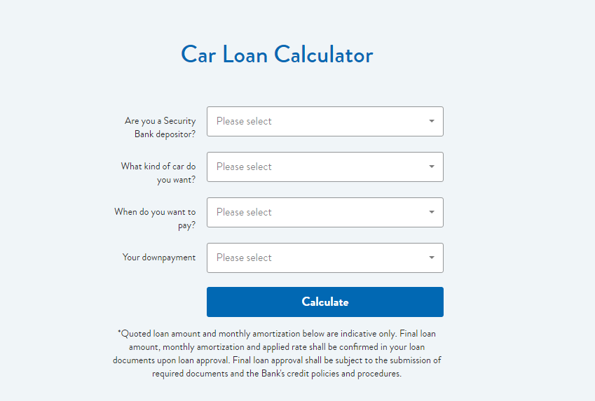 Security Bank Car Loan Calculator