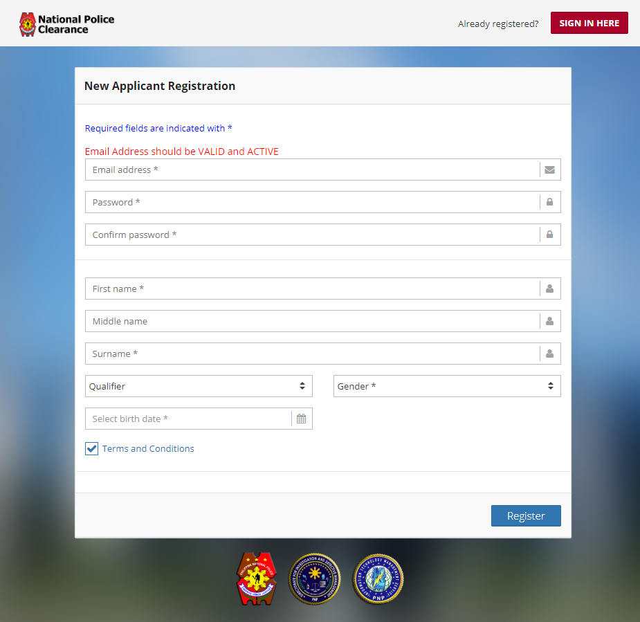 Police Clearance Online Application
